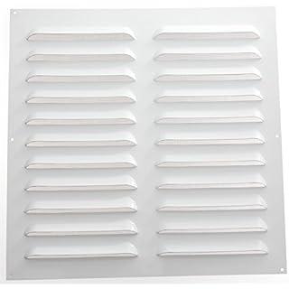 Wetterschutzgitter Lüftungsgitter Aluminium weiß 50 x 50 cm mit Fliegendraht Lamellengitter