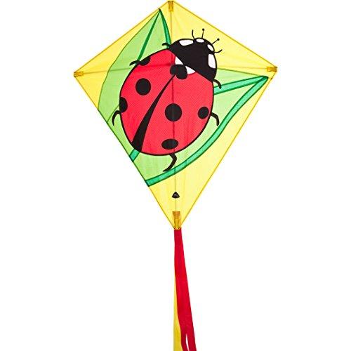 Invento 100069 - Eddy Ladybug Kinderdrachen Einleiner, Ab 5 Jahren, 68 x 68 cm und 2 m Drachenschwanz Ripstop-Polyester 2-5 Beaufort
