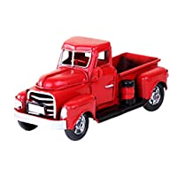 Dušial 6.7inch Vintage Red Truck Metal Truck Car Toy Handcrafted Red Metal Truck Car Model Toys Pull Back Vehicles for Christmas Decoration Table Xmas Decoration, a for Kids
