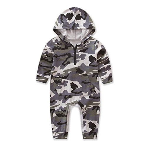 Baby Strampler Set Longra Neugeborene Baby Unisex Langarm Hoodie mit Camouflage Overalls Strampler Babykleidung mit Kapuze Mädchen Jungen Strampler Jumpsuit(0 -24Monate) (80CM 12Monate, Camouflage)