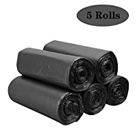 HAUOTCCO Bin Liners Garbage Bags Kitchen Dustbin Garbage Bags PE Food Waste Bags Perfect for Household Office Garden Commercial Caterers(Black 5 Rolls 100pcs)