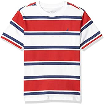 Nautica Boys Short Sleeve Wide Striped Crew Neck T-Shirt