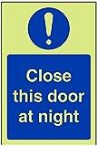 vsafety Arbeitsplattenverbinder ag-g Gebotszeichen, schließen diese Tür bei Nacht, Kunststoff, Hochformat, 100mm x 150mm, blau