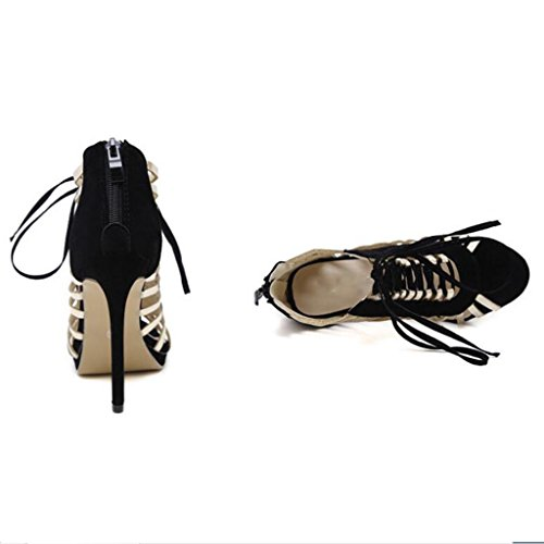 W&LM Signorina Tacchi alti sandali Ok Piattaforma impermeabile Bocca di pesce Pacchetto con sandali Black