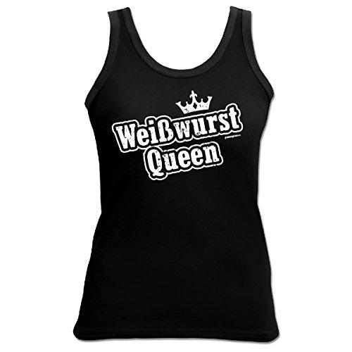 witziges und tolles Girlie TankTop Goodman Design® Farbe: schwarz : Weißwurst Queen Schwarz