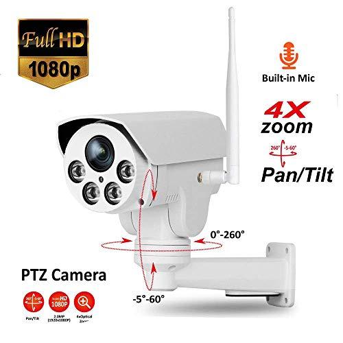 ZLMI Wireless Network Camera PTZ 4X Zoom 2 Million Pixel WiFi Infrared Night Vision Motion Detection Funktion mit 2-Way Audio, für die Home Security Surveillance