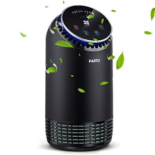 Purificateur d'air Ultra Silencieux 24-48dB, CADR 90-110m³/h 99.97% Filtration 3 Étapes Préfiltre/Filtre HEPA/Charbon Actif avec LED Lampe Ambiance, Filtrer Poussière Particule Pollen Bactérie Odeur