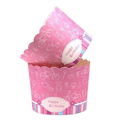 Blancho 100PCS Cute Paper Paper Baking Coupes Cake Coupe Cupcakes Étuis, Rose