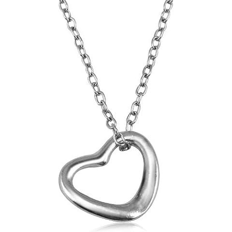 TRIXES Collar de cadena y colgante de corazón abierto de plata