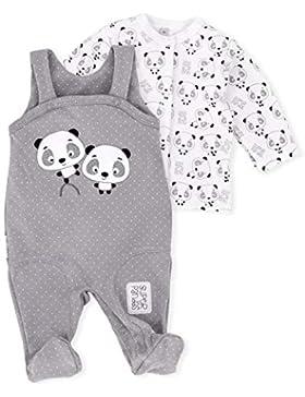 Baby Sweets Set Strampler und Shirt Unisex weiß taupe | Motiv: Panda | Babyset 2 Teile mit Pandamotiv für Neugeborene...