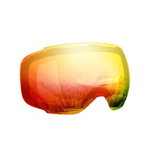 Enkeeo - Lentes Desmontable para gafas de esquí, con 100% UV400 protección para esquiar, Snowboard Patinaje sobre nieve y los Deportes de invierno (Lentes de Repuesto, Rojo)