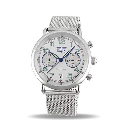 Davis Reloj Cronógrafo para Unisex Adultos de Cuarzo con Correa en Acero Inoxidable 2122MB