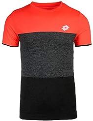 Lotto Camiseta Hombre pádel Tennis Tech tee. 210373 Coral/All Black.