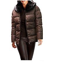 reken Maar de mujer chaqueta chaqueta de plumón con pelo marrón