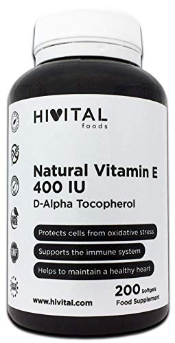 Vitamin E Natural 400 UI | 200 pearls, (More than 6 months supply) | Powerful antioxidant that protects cells from oxidative stress, improves the immune system and promotes cardiovascular health.