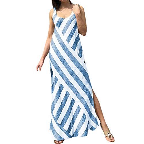 Wawer Frauen ärmellose gestreifte Split Kleid Langen Rock Strand Wind am Meer Coole Frauen Splited Holiday O Neck Strand Langes Kleid Damen Sommer Streifen Maxi Kleid