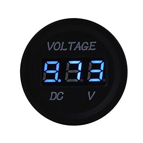 Voltmeter Spannungsprüfer LED Digitalanzeige Voltmeter 12V-24V Scratch Beweis Spannungs Monitor Messgerät für Autos Motorrad(Blau) (Auto Voltmeter Messgerät)