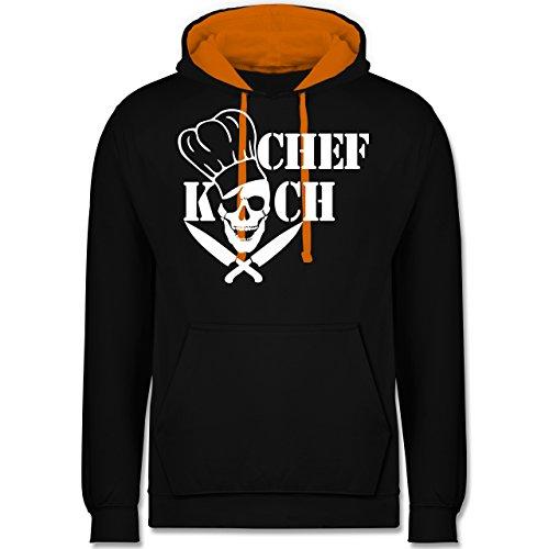 Küche - Chefkoch Totenkopf Skull - Kontrast Hoodie Schwarz/Orange