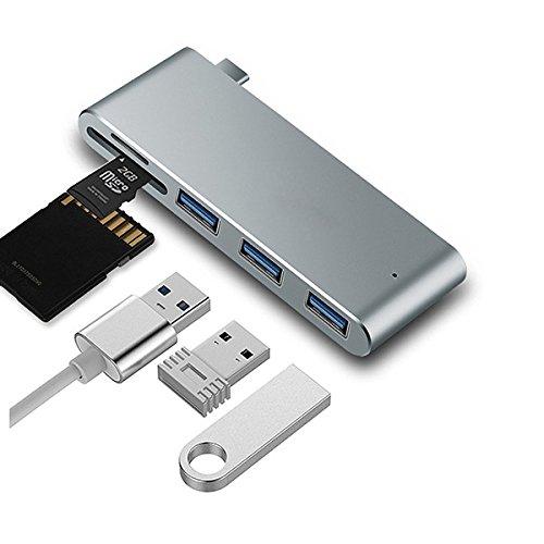 guckzahl 5in 1USB C Hub, Typ USB C Adapter mit 3x 3.0Anschlüsse & SD/microSD, für MacBook, Chromebook und andere Typ C Geräte