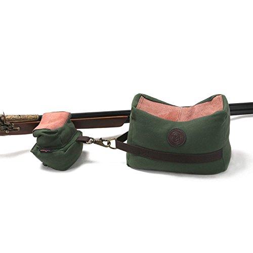 Tourbon Leinwand und echtem Leder Shooting Bench vorne und hinten Gun Rest Tasche ungefüllt - Grün -