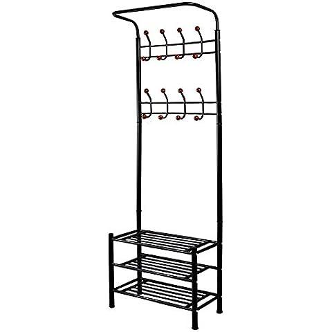 Dazone® Moderno Appendiabiti Portaombrelli in metallo nero angolo Hall Albero stand Rack con scarpiera e 8Ganci