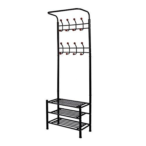 Schwarz Hall-baum (dazone® Modern Coat Kleidung Ständer Racks Metall schwarz Ecke Hall Baum Schirmständer mit Schuhregal und 8Haken zum Aufhängen)