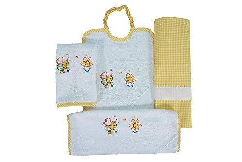 Coccole- Set asilo tela aida 'apina gialla' - 4 pezzi: 2 bavaglini, 1 asciugamano e 1 sacca - giallo - 3 mesi - 5 anni da ricamare con tela aida