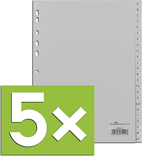 Durable Register A -Z, DIN A4, Grau, PP, Universallochung, 24-teilig (Grau, 5er Pack)