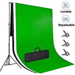 Amzdeal 3×2m Fonds Support Système, 3pcs 3×2m Toiles de Fond Vert Blanc Noir en Tissu Lavable et Repassable, Support 3×2m Réglable en Hauteur 65-200cm pour Studio Photo Portrait Objet Vidéo