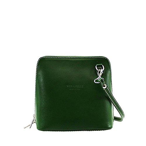 Hautefordiva , Damen Schultertasche schwarz S grün