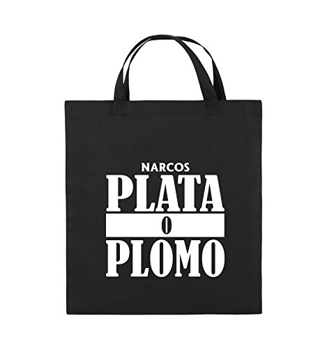 Comedy Bags - PLATA O PLOMO - NARCOS - Jutebeutel - kurze Henkel - 38x42cm - Farbe: Schwarz / Silber Schwarz / Weiss