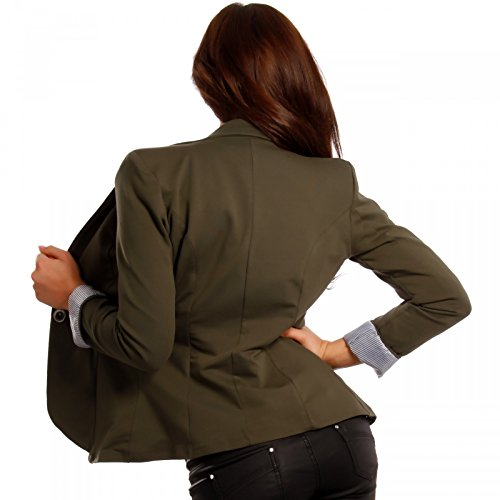 Damen Blazer Business Basic Kurzjacke Khaki