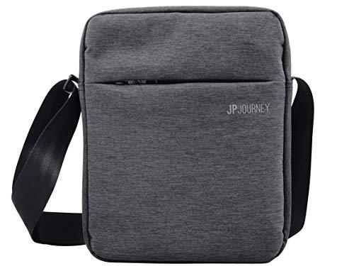 """JP Journey RFID Umhängetasche - Reise und Arbeit mit Tablet Fach bis 11\"""", Messenger Bag Klein Herren Damen Diebstahl Schultertasche iPad Air Pro Grau"""