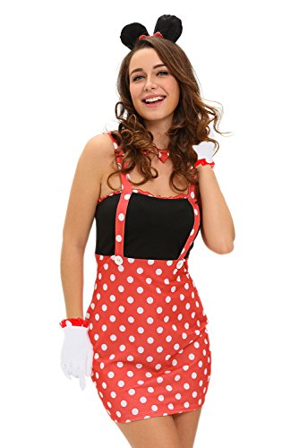 New Frauen 4 Stück weiß & Red Dot Disney Minnie Maus Kostüm Fancy Dress Hen Night Halloween Party Größe M UK 10 EU 38