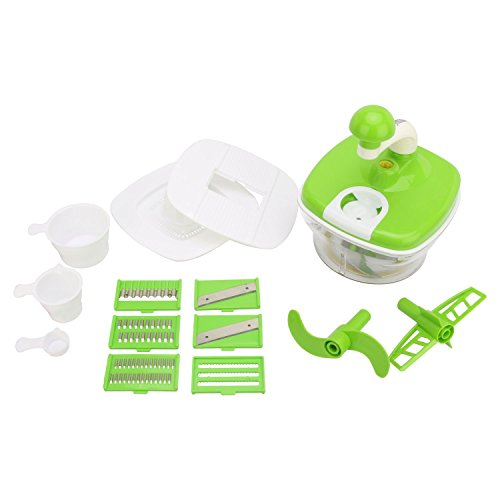 Slings 14 pcs Manual Food Processor - Chopper, Blender, Atta Maker, Dough Kneader - Green  available at amazon for Rs.395