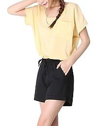 Sidiou Group Pantalones casuales de lino de algodón de verano de la mujer Pantalones cortos deportivos Pantalones cortos de cintura elástica femenina