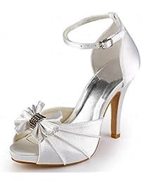 ElegantPark EP11050-IP Mujer Sat¨¦n Peep Toe Sandalias Arcos Plataforma Tac¨®n De Aguja Bombas Zapatos De Novia