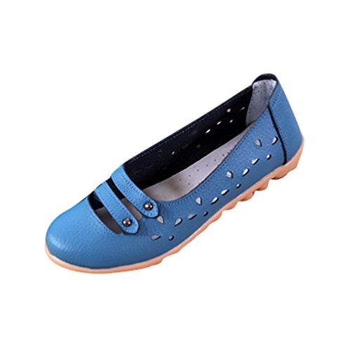 YAANCUN Damen Leder Runde Empty Mund Kufe Atmungsaktiv Höhle Freizeitschuhe Handgemachtes Schuhe