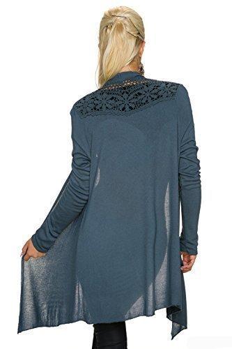 QoC Femmes Cardigan Truc Bien Veste Tricotée Pull avec Dentelle Au Crochet ouvert Front, autre Couleurs Bleu