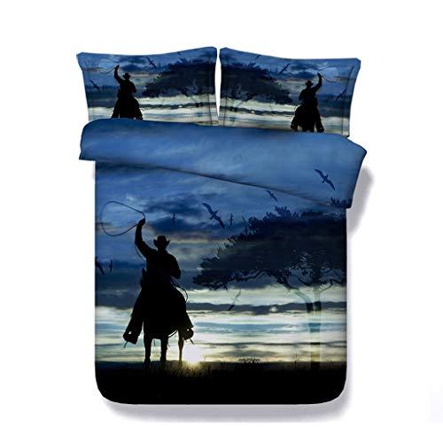 Western-Cowboy-Bettbezug-Set Galoppierendes Pferdevogel 3-teiliges Bettwäscheset mit 2 Kopfkissenbezügen Grün Blau Orange Schwarzes Bett-Set Kein Tröster -