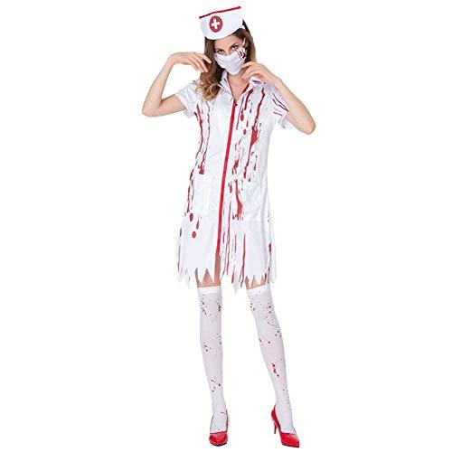 GLXQIJ Halloween Adult Womens Zombie Krankenschwester Kostüm Bloody Sexy Horror Dress Up, Kleid, Gesichtsmaske & Kopfbedeckung,White,L (Sexy Adult Krankenschwester Kostüm)