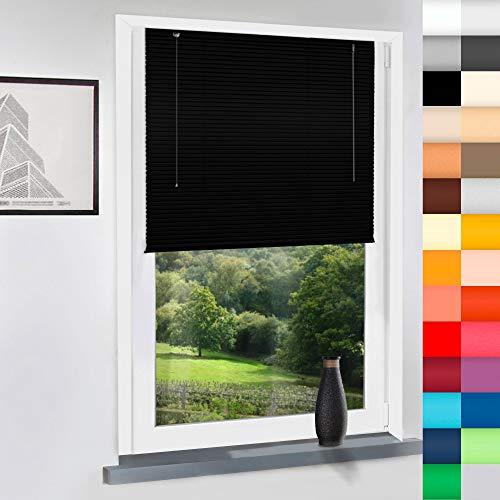 SUNWORLD Aluminium Jalousie nach Maß, hochqualitative Wertarbeit, alle Größen verfügbar, Maßanfertigung, für Fenster und Türen, Fenster, Klemmfix ohne Bohren (Schwarz, Höhe: 130cm x Breite: 90cm)