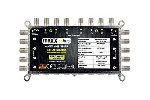 maxx.onLine Digital Multischalter 9 in 8 - Multischalter für 2 Satelliten / 8 Teilnehmer - Geringe Stromaufnahme - 0 Watt Standby, Multiswitch EMS 98 RP [Digital, HDTV, FullHD, 4K, UHD]