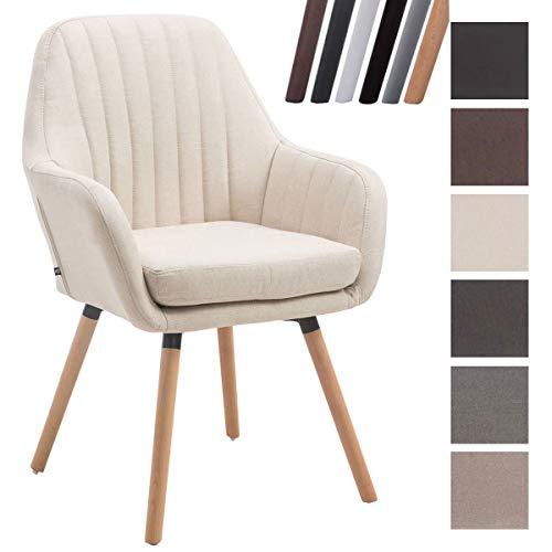 Clp sedia rétro florian con braccioli - poltrona deco soggiorno in tessuto i sedia imbottita sala da pranzo con telaio in legno i portata max 160 kg altezza seduta 53 cm crema natura