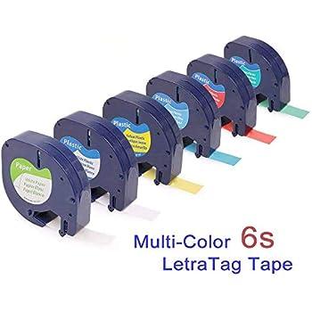 6x Kompatibel Dymo LetraTag plastic white 12mm x 4m Etikettierband geeignet ...