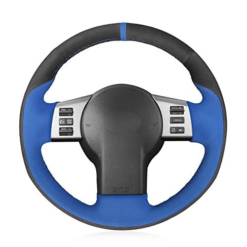 YHEGV Sicherheit Hand Nähen Customized Schwarz und Blau Wildleder Auto Lenkradbezüge Wrap für Infiniti FX FX35 FX45 2003-2008 Nissan 350Z 2003-2009