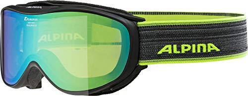 ALPINA Erwachsene Challenge 2.0 MM Skibrille, Black-neon, One Size