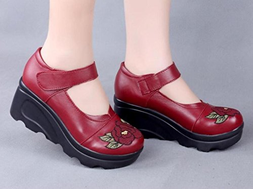 GTVERNH-China Scarpe Con Tacchi, Cuoio, Tacco Alto Madre Scarpe, In Primavera E In Autunno Il Tempo Libero A Mano Singola Scarpe Di Cuoio Claret