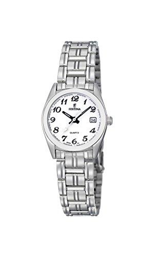Festina F8826/1 - Reloj analógico de cuarzo para mujer con correa de acero inoxidable, color plateado