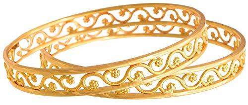 AFJ Gold 1 Gram Gold Plated Traditional Designer Trendy Daily Wear Stone Bangles Sets for Women & Girls (Bangle 3, 2.4)